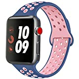 ATUP Compatible con para Apple Watch Correa de 38mm 40mm 42mm 44mm, Correa de Reloj de Repuesto de Silicona Suave Compatible con para iWatch Serie 1/2/3/4 (06 Navy Blue&Pink, 38mm/40mm-S/M)