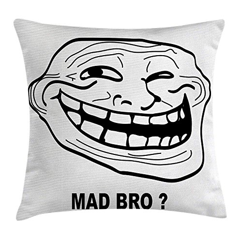 or Pillow case Cartoon Style Troll Face Guy for Annoying Popular Artful Internet Meme Design Throw Pillow Covers 20x20 Inches ()