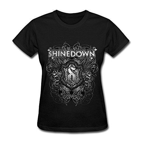 Sixtion FK Shinedown Tour 2015 Logo T Shirt For Women Black, CBlack, XX-Large