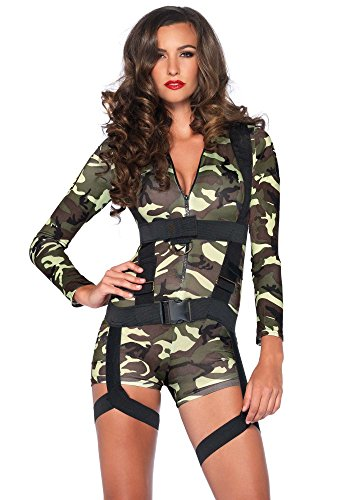 Damen-Kostüm Leg Avenue - Fallschirmjägerin kurz sexy, Größe:M (Camouflage Kostüm)