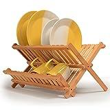 BAKAJI Escurreplatos Plegable de Madera Bambu 'Cola Platos Escurridor Vajilla con Compartimento Tazas y Vasos X 24,5X 42X 33cm Bambú Natural