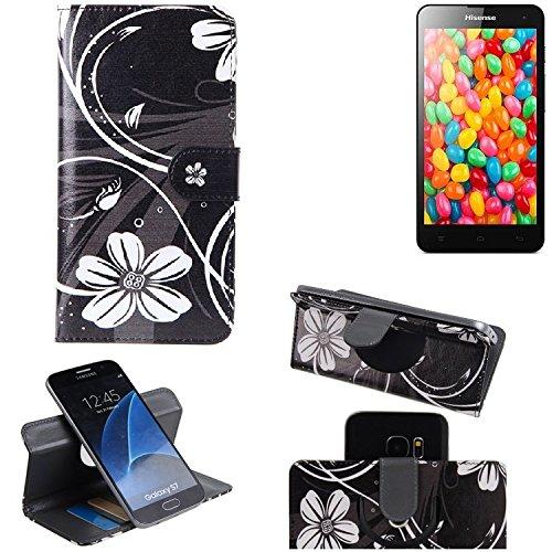 K-S-Trade® Schutzhülle Für Hisense HS-U971AE Hülle 360° Wallet Case Schutz Hülle ''Flowers'' Smartphone Flip Cover Flipstyle Tasche Handyhülle Schwarz-weiß 1x