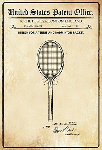 ComCard US Patente - Design for a Tennis and Badminton Racket - Entwurf für EIN Tennis- und Badmintonschläger - Meza, London 1925 - Design No 1.532.991 - Schild aus Blech, Metal Sign, tin