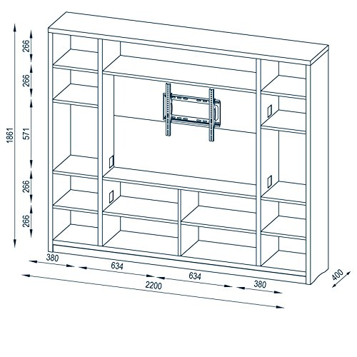 MAJA Raumteiler Wandregal Cableboard 6022 in Sonoma Eiche 220x186x40cm Bücherregal Wohnwand - 3