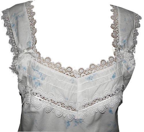 Cotton Real -  Camicia da notte  - Floreale - Donna Blu