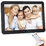 Cadre Photo Numérique 8 Pouces 1920 * 1080 (16: 9) IPS Display avec Rotation Automatique, Télécommande, Support Multimédia MP3...