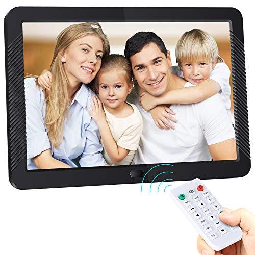 Digitaler Bilderrahmen 8 Zoll Elektronischer Fotorahmen 1280 * 800 IPS Display Mit automatischer Drehung, Fernbedienung,Steckplätzen für MP3 /HD-Videoplayer/Kalender/Wecker,USB und SD-Karten