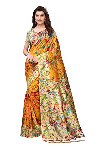 Indian Women's Art Silk Kalamkari and Bhagalpuri Style Sari with Blouse Piece Spray ORANGE