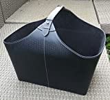 Holzkorb Leder-Korb für Brennholz schwarz