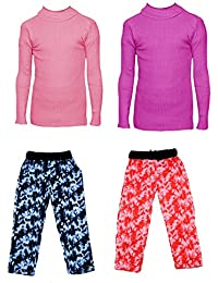IndiStar Boys Combo Pack For Winter(Pack of 2 Printed Lower and 2 Wollen Full Sleeves T-Shirt/Inner/Skivvy )_Pink::Magenta::Multicolor_3-4 Years_360192010110-0609-IW-P4-24