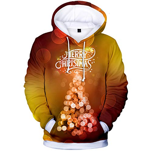Männer Hoodies Unisex Merry Christmas 3D Prints Pullover Jumpers Breathable Wool Fleece Regular Patterned Sweatshirts with Pockets Couple Hoodies,XL - Jugend Special Teams Kapuzen-pullover