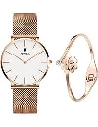 XLORDX Classic Damenuhr Analog Rosegold Edelstahl Armband Weiß mit Rosegold Armband