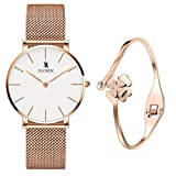 XLORDX Classic Damen-Armbanduhr Analog Quarz Rosegold Edelstahl Weiß mit Rosegold Armreif