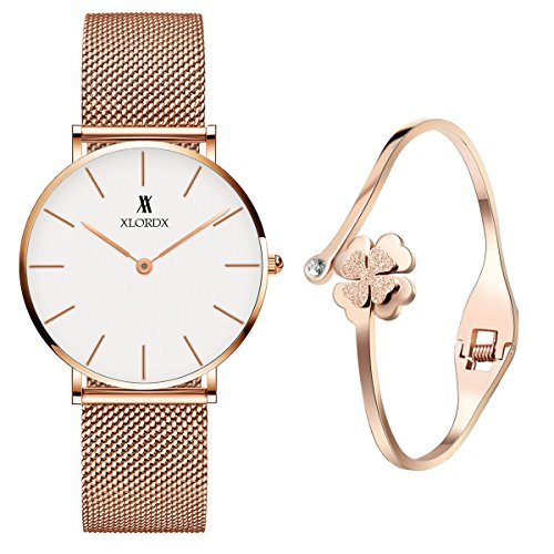 XLORDX Classic Damen-Armbanduhr Analog Quarz Rosegold Edelstahl Armband, Weiß Zifferblatt mit Elegant Rosegold Armband