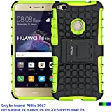 Coque Huawei P8 Lite 2017, Fetrim armure Support TPU Silicone + Plastique Protection Étui,anti chocs Bumper Hybride protection Housse Cover pour Huawei P8 Lite 2017 - Vert