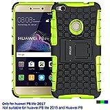 Fetrim Huawei P8 Lite 2017 Hülle TPU Plastik Schlank Schutzhülle Handyhülle Stoßfest Schutz Etui Handy Fall Cover Schale für Huawei P8 Lite 2017 mit Ständer - Grün