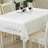 Yazi Vintage-Tischdecke aus Spitze, europäischer, ländlicher Stil mit blumigem Pflaumenblüten-Motiv, Spitze, weiß, 90x160cm