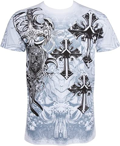 TG527T Cross,Sword and Shield Metallic Silver Embossed Short Sleeve Crew Neck Cotton Mens Fashion T-Shirt - White /