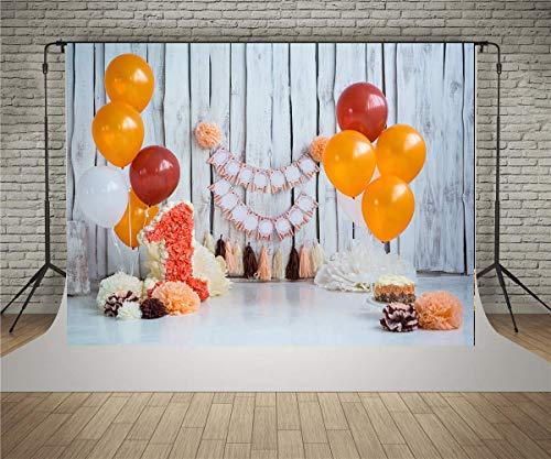 (WaW 2.2x1.5m Foto Hintergrund 1 Geburtstag Baby Mädchen Weiße Holz Ballon Hintergründe Foto Kulisse für Cake Smash Fotoshooting)