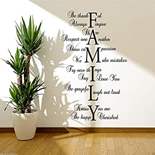 FAMILY LOVE LIFE Wall Art Sticker Lounge Hall Quote Decal Mural Transfer Sticker WSD417