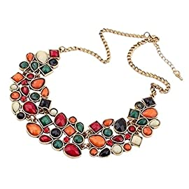 YAZILIND Colorful Short Necklace Choker Bib Statement Crystal Pendant Collar Chunk Women Chain