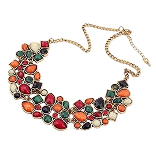 - 51tc1tec29L - YAZILIND Colorful Short Necklace Choker Bib Statement Crystal Pendant Collar Chunk Women Chain
