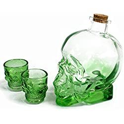 Totenkopf Demon Getränk grün Glas Dekanter und 2Gläser. Tolles Geschenk.