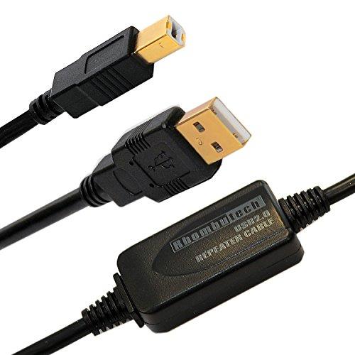 Rhombutech® 10m USB2.0 Anschlusskabel, aktiv mit Signalverstärker, Druckerkabel, A/B USB 2.0 Stecker A auf Stecker B für Brother, HP, Canon, Lexmark, Epson, Dell usw. Vergoldete Kontakte