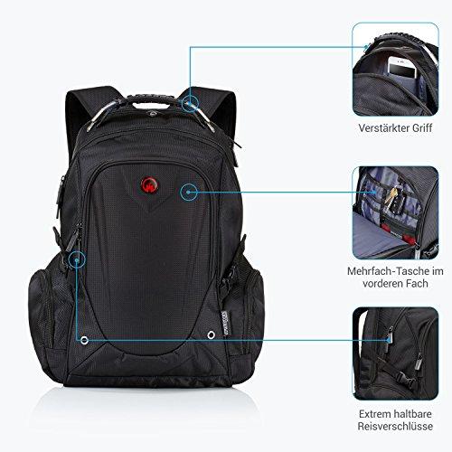 Laptop Rucksack Männer. Für Herren und Damen von Camden Gear. Schulrucksack – Uni Laptoprucksack für die Schule – Laptop – Wandern. Wasserdicht, Top mit mehreren Fächern. Schwarz - 2