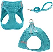 TAME Dog Cat Harness And Leash Set,Breathable Adjustable Reflective Outdoor Walking Comfortable Easy Control F