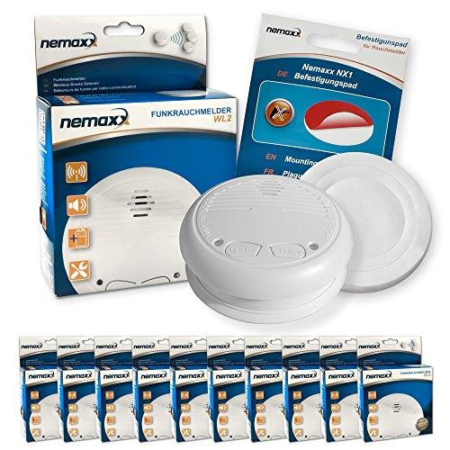 10x Nemaxx WL2 Funkrauchmelder Rauchmelder Brandmelder Set Funk koppelbar vernetzt - nach EN 14604 +...