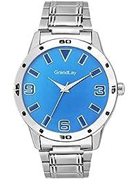 Grandlay ct-2034 modest analog blue dial watch for men