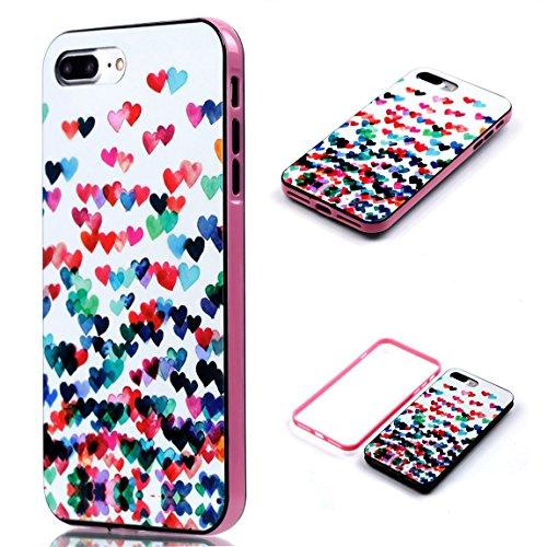 Voguecase® Pour Apple iPhone 7 4,7, 2 in 1 Rigide Plastique Shell Housse Coque Étui Case Cover(coeurs colorés)de Gratuit stylet l'écran aléatoire universelle coeurs colorés