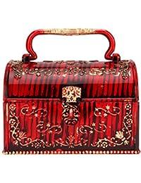 Tuelip Antique Junior Pitara Plastic Jewelry and Make-Up Vanity Box, Red
