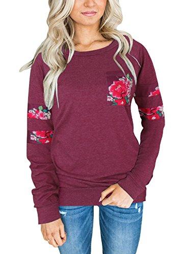 Braune Cut-out (Zhaoyun Damen Langarmshirt Mit Floral Print Rundhals Lässige Bluse Oberteile Tops Rot-S)