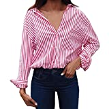 Womens Newest Striped Tunic Blouse, Kanpola Ladies Long Sleeve Loose Casual T-Shirt Short Lapel Tops Printed Button Down Shirt
