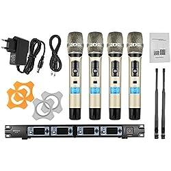 ammoon Système de Microphone Sans Fil Professionnel 4 Canaux 4D-B UHF 4 Microphones 1 Récepteur Sans Fil Câble Audio de 6,35 mm Affichage LCD pour Karaoké Soirée