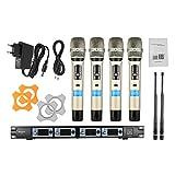 ammoon Sistema di Microfono Professionale 4 Canali UHF Senza Fili Handheld 4 Microfoni 1 Ricevitore Wireless 6.35mm Cavo Audio Display LCD 4D-B