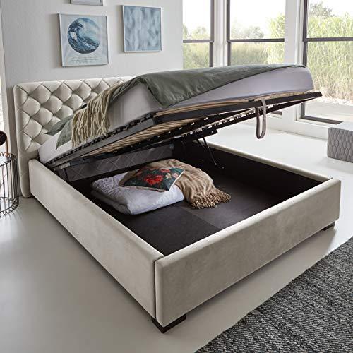 Designer Bett mit Bettkasten ELSA Samt-Stoff Polsterbett Lattenrost Doppelbett Stauraum Holzfuß schwarz (Altweiß, 140 x 200 cm)