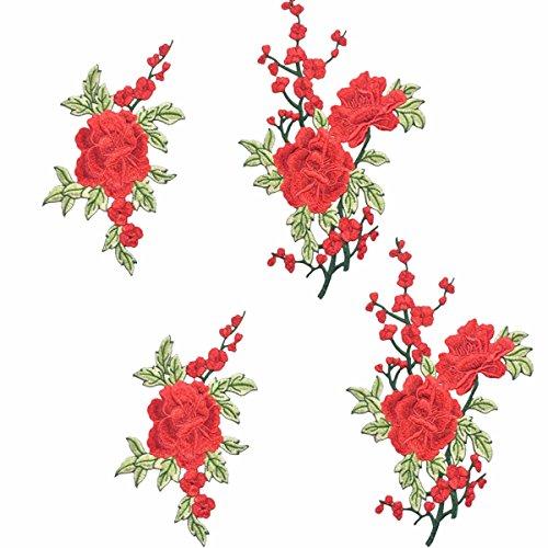 4 Stück Aufnäher Rose Blume Stickerei Applikation,Stickerei Kleidung Patches Nähen Bügeln,Patches Rose,Craft Applique Patches Abzeichen,Für T-Shirt, Jeans, Kleidersäcke