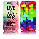 Huawei Ascend G7 Silikon Schutz-Hülle 2x SET LIVE THE LIFE + BUNTES MUSTER weiche Tasche Cover Case Bumper Etui Flip smartphone handy backcover thematys®