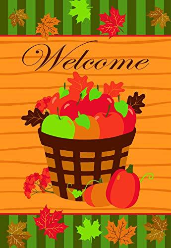 Lantern Hill Gartenflagge Welcome Herbsternte, Korb mit Äpfeln und fallenden Blättern, 31,8 x 45,7 cm, Dekoratives Banner im Herbst (Apple-geschenk-korb)