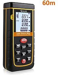 Tacklife Professional A-LDM02 60 Laser Entfernungsmesser Distanzmessgerät (Messbreich 0,05~60m/±2mm mit LCD Hintergrundbeleuchtung, Staub- und Spritzwasserschutz IP 54) inkl.Batterie und Schutztasche