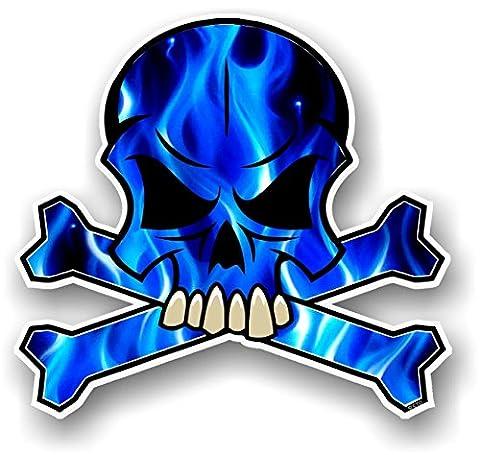 Vinyl-Aufkleber Gothic Totenkopf-Design mit elektrischen blauen Flammen, Auto-Aufkleber, 100x