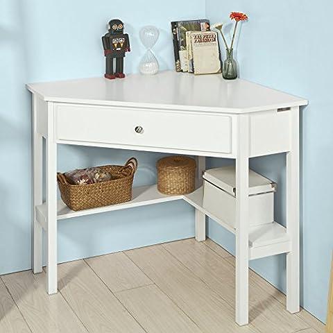 SoBuy® FWT31-W, White Corner Desk, Triangle Table Desk with Drawer, Home Office Desk Computer Workstation