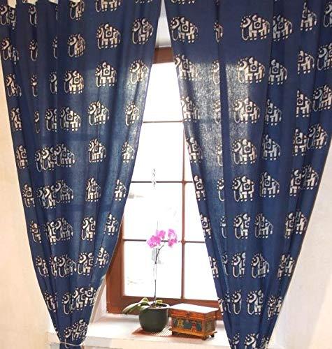 Guru-Shop Baumwollvorhänge, Gardinen mit Elefanten Motiv Handbedruckter Vorhang, Gardine, Blau, Baumwolle, 290x100 cm, Dekovorhänge