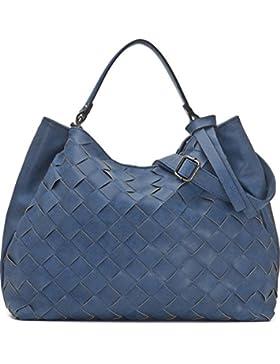 [Gesponsert]Hochwertige Damen Handtasche - Umhängetasche mit abnehmbarem Schulterriemen - Hobo Bag in Flechtoptik - 40 x 29...