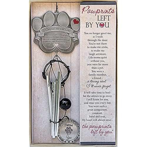 regalos tus mascotas mas kawaii Pet Memorial carillón de viento–12de metal, carillón de viento de huellas–un bonito regalo de recuerdo para un duelo mascotas owner- incluye Pawprints izquierda por Te poema Tarjeta.