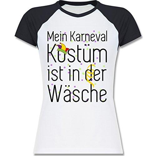 Shirtracer Karneval & Fasching - Mein Karneval Kostüm ist in der Wäsche - Zweifarbiges Baseballshirt/Raglan T-Shirt für Damen Weiß/Navy Blau