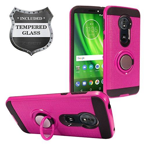 Für Motorola Moto G6Play, Moto G6Forge xt1922-Hybrid Hard Case w/Ring Ständer + gehärtetem Glas Displayschutzfolie, RS2 Black/Hot Pink Hot Pink Hard Case